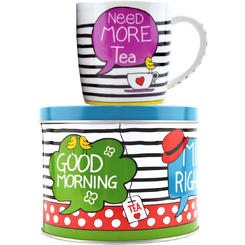 "Sinas Set ceai: Cana portelan + Cutie metalica ""Need more tea"" 300ml"