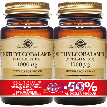 Solgar Methylcobalamin (Vitamin B-12) 1000mg 30 tablete Pachet 1+1-50%
