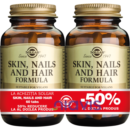 Solgar Skin Nails and Hair Formula 60 tablete PACHET 1+1-50%