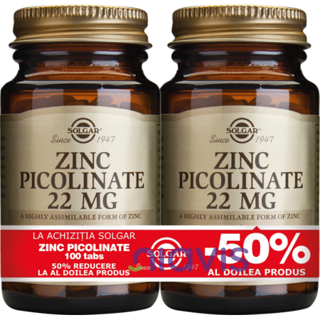 Solgar Zinc Picolinate 22mg 100 tablete PACHET 1+1-50%